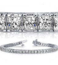 10.40 ct Princess cut Diamond Tennis Bracelet, 0.20 ct each