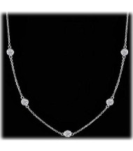 Round Diamond By The Yard Chain Necklace,  7 x 0.10 ct each