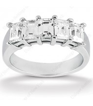 5 Emerald Cut Diamond Anniversary Ring,  0.25 ct Each,  1.25 tcw