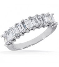 9 Emerald Cut Diamond Anniversary Ring,  0.20 ct Each,  1.80 tcw