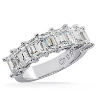 7 Emerald Cut Diamond Anniversary Ring,  0.35 ct Each,  2.45 tcw