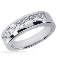 7 Princess Cut Diamond Anniversary Ring,  0.27 ct Each,  1.90 tcw