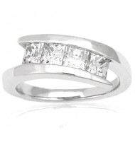 4 Princess Cut Diamond Anniversary Ring,  0.40 ct Each,  1.60 tcw