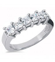 5 Radiant Cut Diamond Anniversary Ring,  0.25 ct each,  1.25 tcw