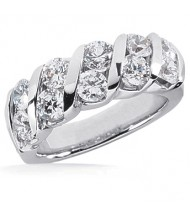 10 Round Cut Diamond Anniversary Ring,  0.25 ct Each,  2.50 tcw