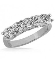 5 Round Cut Diamond Anniversary Ring, 0.25 ct Each, 1.25 tcw