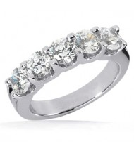 5 Round Cut Diamond Anniversary Ring,  0.35 ct Each,  1.75 tcw