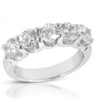 5 Round Cut Diamond U Prong Ring,  0.30 ct Each,  1.50 tcw