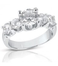 5 Round Cut Diamond Anniversary Ring,  1.00 ct center,  2.75 tcw
