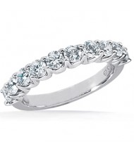 10 Round Cut Diamond Anniversary Ring,  0.10 ct Each,  1.00 tcw