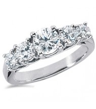 5 Round Cut Diamond Anniversary Ring,  1.00 ct center,  2.25 tcw