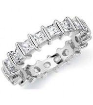 2.10 ct Princess cut Diamond Eternity Band, Bar, 0.10 ct each