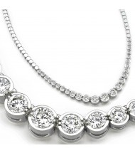 3 ct Round Diamond Graduated Tennis Necklace Half Bezel 16 Inch