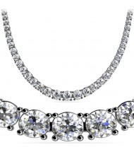 12 ct Round Diamond Graduated Tennis Necklace, 4 Prong, 16 Inch