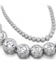 14 ct Round Diamond Graduated Tennis Necklace Half Bezel 16 Inch