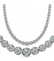 11 ct Round Diamond Graduated Tennis Necklace, 4 Prong, 16 Inch