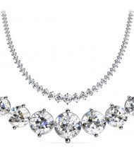 10 ct Round Diamond Graduated Tennis Necklace 2 Prong, 16 Inch