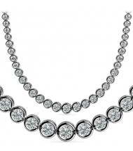 9 ct Round Diamond Graduated Tennis Necklace Half Bezel, 16 Inch