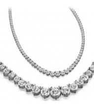 10 ct Round Diamond Graduated Tennis Necklace, 3 Prong, 16 Inch