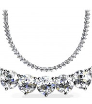 19 ct Round Diamond Tennis Necklace, 3 Prong, 16 Inch