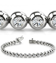 4 ct Round cut Diamond Tennis Bracelet, Bezel Set, 0.11 ct each