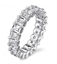 6.65 ct Emerald cut Diamond Eternity Wedding Band, 0.35 ct each,
