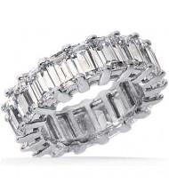 6.65 ct Emerald cut Diamond Eternity Wedding Band, 0.35 ct each,